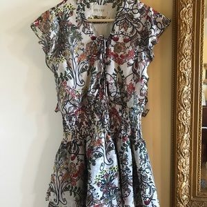 Off White Floral Mini Dress